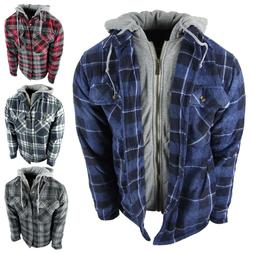 Mens Plaid Flannel Shirt Hoodie Soft Fuzzy Fleece Sherpa Lin