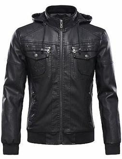Tanming Mens Pu Leather Jacket with Removable Fur Hood Small