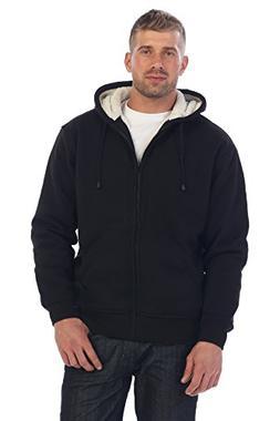Gioberti Mens Sherpa Lined Pull Zip Fleece Hoodie Jacket, Bl