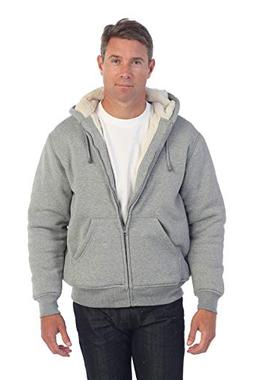 Gioberti Mens Sherpa Lined Pull Zip Fleece Hoodie Jacket, He