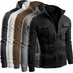 Mens Slim Fit Stand Collar Coat Top Military Jacket Winter O