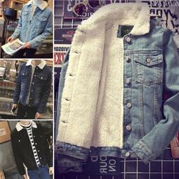 Mens Western Warm Coat Vintage Fleece Jacket Fur Lining Coat
