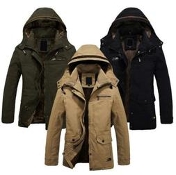 Mens Winter Snow Warm Hooded Jacket Military Outerwear Fur l