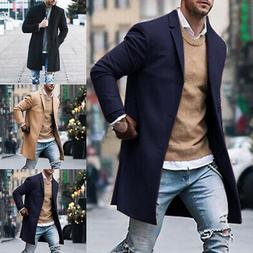 Mens Winter Warm Coat Trench Long Jacket Single Breasted Pea