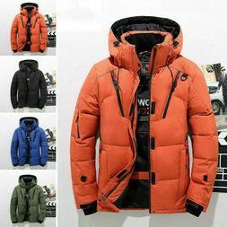 Mens Winter Warm Duck Down Jacket Ski Jacket Snow Thick Hood