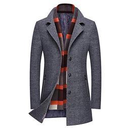 WULFUL Men's Wool Trench Coat Winter Slim Fit Pea Coat wit