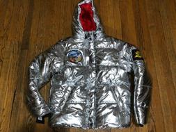 Champion Metallic Silver Puffer Jacket 1919 Life NASA Men's