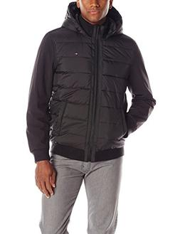 Tommy Hilfiger Men's Mixed-Media Puffer Jacket,XX-Large,Blac