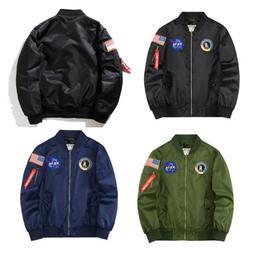 Nasa Bomber Jacket Mens Women Pilot MA1 Coat Flight Air Forc