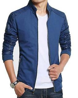 XueYin NEW Blue Men's Size 4XL Front Full Zip Faux Leather J