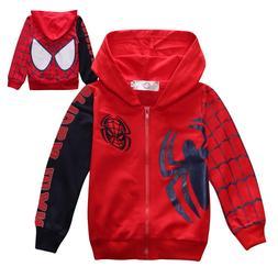 New Boys Spiderman Coat <font><b>Kids</b></font> Cotton Spri