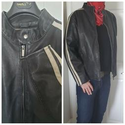 New Arizona Cafe Motorcycle Faux Leather Racing Jacket Mens