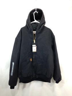 NEW Carhartt Coat Jacket Mens 2XL Tall Black Full Zip Hooded
