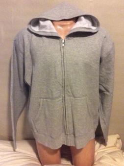 Hanes NEW Jacket Hood 2XL Men XXL Fleece Gray Metal Zipper H