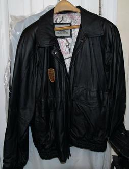 NEW, Burks Bay Leather Bomber Jacket; Black, Decorative Raci