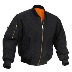 NEW Rothco MA-1 Black Flight Jacket With Reversible Orange P