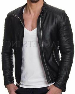 New Men's Genuine Lambskin CASUAL Leather Jacket Black Slim