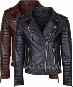 New Men's Genuine Lambskin Leather Jacket BLACK & BROWN Slim
