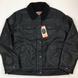 NEW Men's Levi's Faux Leather Jacket Sherpa Lined Black Medi