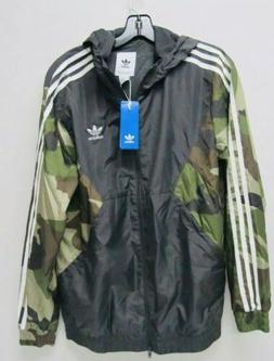 New Adidas Men's Medium Black/Camo Jacket Windbreaker Zipper
