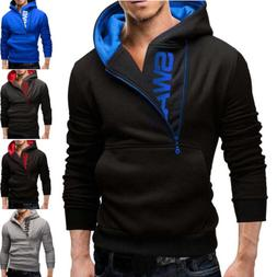 New Men's Winter Slim Hoodies Warm Hooded Sweatshirt Coat Ja