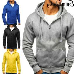 New Men's Winter Slim Hoodies Warm Zipper Jacket Hooded Swea