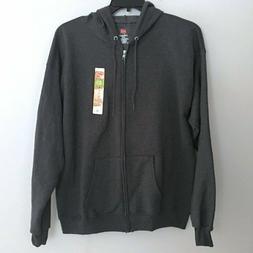 NEW Mens Hanes EcoSmart Zip Front Jacket Fleece Hooded/Hoodi