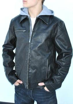 New Mens Kenneth Cole Faux-Leather Jacket Coat Detachable Ho