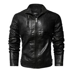 New Mens Leather Jacket Vintage Leather Coat Stand Collar Mi