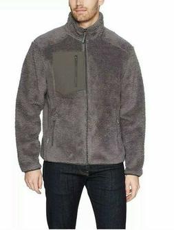 New White Sierra Mens Wooly Bully Fleece Zip Jacket Gray Sz