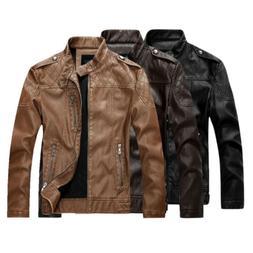 New Motorcycle Biker Jacket Warm Coats Men's Faux Leather PU