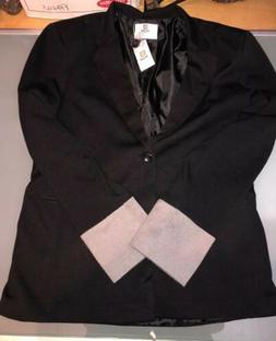 H2H NEW Navy Black Mens Size XL One-Button Notch-Collar Jack
