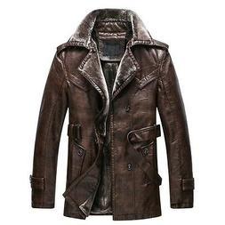New Winter Thicken Men's Leather Faux Fur Warm Jackets Parka