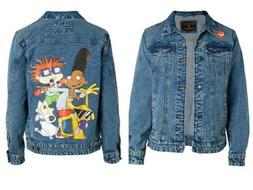 Members Only Nickelodeon Rugrats Men XL Denim Jacket Hey Arn