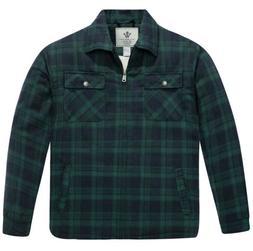 NWT WenVen Men's Flannel Jacket Zip Up Fleece Sherpa Heavy L