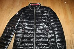 NWT TOMMY HILFIGER MENS BLACK SHINY PUFFER JACKET W ZIPPERED