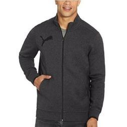 NWT Puma Mens L Charcoal Gray Fleece Zip Up Track Jacket Bla