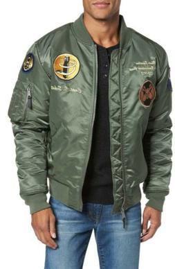 SCHOTT NYC Highly Decorated Embroidered Flight Jacket, Green