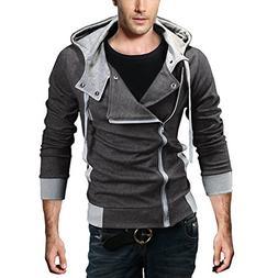 DJT Men's Oblique Zipper Hoodie Casual Top Coat Slim Fit Jac