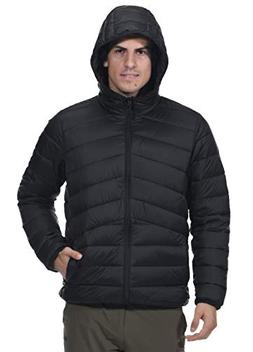 MIER Men's Packable Hooded Puffer Jacket Water-Resistant Lig