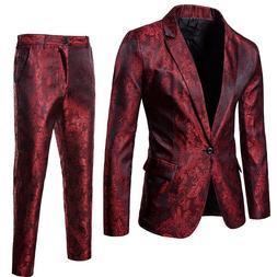 Purple Paisley Floral Gilding One Button Suit  <font><b>Men<