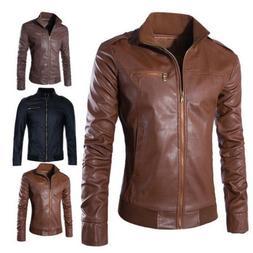 Retro Men's Faux Leather Biker Coats Slim Jackets Zipper Out