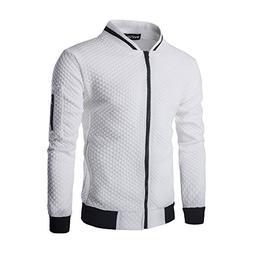 SHDAS Men's Slim Fit Zip Up Square Pattern Quilted Bomber Ja