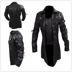 Steampunk Men's Gothic Trench PU Leather Jacket Coat Goth Pu