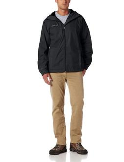 Columbia Men's Straight Line Rain Jacket, Black, Large