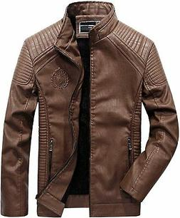 Tanming Men's Fur Lined Faux Leather Jacket Outerwear