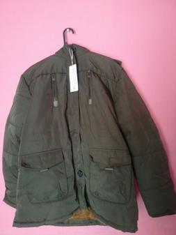 Tanming Men's Removable Hooded Faux Army Green Jacket, Size