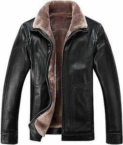 Tanming Men's Winter Warm PU Leather Coat Real Fur Hooded Fa