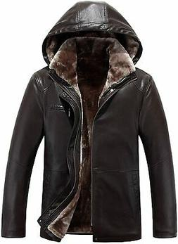 Tanming Men's Winter Warm PU Leather Coat Real Fur Hooded Fa