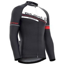 4ucycling Men's Team Wear Cycling Jersey Long Sleeve Black-W